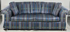 Baker Upholstered Rolled Arm Sofa with High End Plaid Fabric