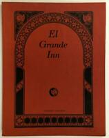 El Grande Inn Original Vintage Restaurant Menu Clearlake California