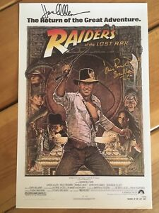 Raiders Of The Lost Ark Signed 11x17 Poster. Allen & Rhys-Davies. PROOF.