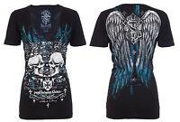 Rebel Saints AFFLICTION Womens T-Shirt MOCKINGBIRD Skulls Wings Tattoo Biker $40