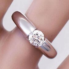 14k White Gold Round Forever One Moissanite Engagement Ring Tension Set 0.70ctw