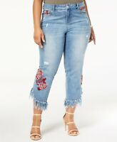 INC International Concepts Plus Size Embroidered Ripped Jeans