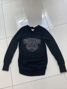 H & M Black Pug Sequin Maternity Jumper Size 10