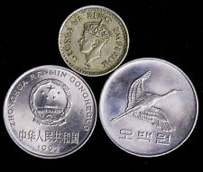 Lot of 3 World Foreign Coins 1944 India-British 1/4 Rupee 1984 Korea 500 Won 199