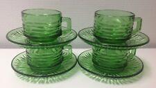 Vintage 4 Tasses et 5 soucoupes en verre Vireco couleur vert
