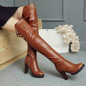 New Womens Over Knee High Boots Round Toe Spike High Block Heel Shoes Plus Size
