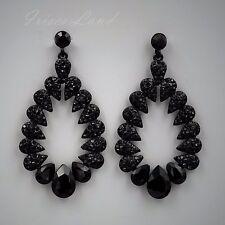 New Alloy Black Jet Crystal Rhinestone Drop Dangle Earrings 08905 Party Prom