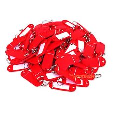 (Lot of 100) Key ID Tags Labels Keychain Split Key Ring Name Tag Red USA Ship