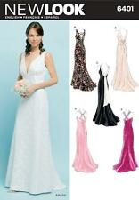 NEW LOOK SEWING PATTERN MISSES' GOWN BACK VARATIONS WEDDING PROM SIZE 8-18 6401