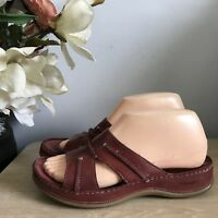 Gorgeous Ladies Hush Puppies Red Leather Slip On Mules Sandal Size 5 UK VGC!!
