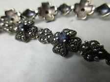 """Altes """"Blauer Saphir"""" 925 Silber Armband 8 Steine gute Handarbeit Thailand 1970"""