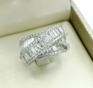 4.10 Carats Baguette & Round Diamond 13mm Wide Channel Prong Anniversary Ring18K