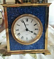 Impresionante Acctim Cuarzo Suizo Raro Art Deco Bronce/Azul Numerada Mantel Clock