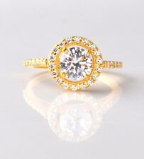 2.70 Carat Solitaire With Accents Ring 14Kt Yellow Gold Awesome Round Shape