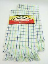 NOS 8 Vintage Morgan Jones Kitchen Tea Towels 100% Cotton Blue & Green Striped