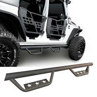 A Pair Star Side Steps Nerf Bars Running Board for 07-18 Jeep Wrangler JK 4Door