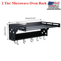 2 Layer Microwave Oven Shelf Rack Wall-Mounted Home Kitchen Stand Storage Holder