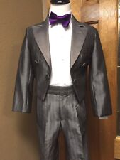 6 Boys short Coat Silver Tuxedo Formal Tailcoat Party Dance Jacket Cosplay 711AG
