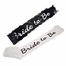 Black White Bride To Be Lace Sash Hen Night Bachelorette Party Wedding Shower ML