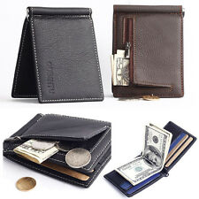 Men Genuine leather Slim Wallet Money Clip ID Credit Card Holder Pass case purse