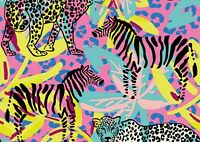 Funky Leopard & Zebra Poster Size A4 / A3 Africa Wild Animal Poster Gift #13202