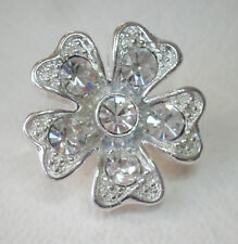 Small flower clear crystal and silver tone brooch lapel pin 2.5cm x 2.5cm