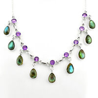 41.20cts Natural Blue Labradorite Amethyst 925 Sterling Silver Necklace P81490