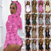 Women Ear Hooded Leopard Printed Jumpsuit Ladies V-Neck Romper Shorts Home Wear