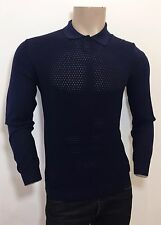 Ermenegildo Z ZEGNA Blue Long-Sleeved Silk & Cotton Polo Shirt M RRP: £295.00