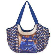 Blue Azul Cat Laurel Burch Large Canvas Scoop Purse Tote Bag Handbag