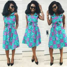 Sexy Lady African Ankara print the knee Dress Woman Party wear sz 2 to 20