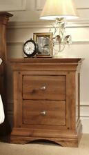 TOULOUSE SOLID OAK 2 DRAWER BEDSIDE TABLE / BEDROOM DRAWERS