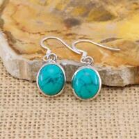 Turquoise 925 Sterling Silver Oval Drop Earrings Gemstone Jewellery N2