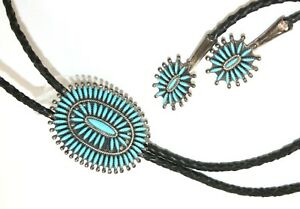 Vintage F.M. BEGAY Sterling Silver & Turquoise Bolo Tie, NAVAJO, Large