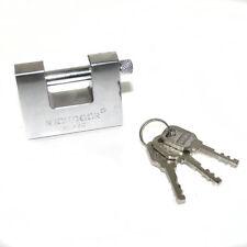 70mm Steel Shutter Padlock Shackle Heavy Duty Hardened 3 Keys Large Anti Saw