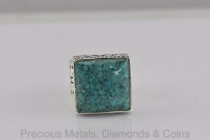 Silpada Sterling Silver R1324 Crushed Blue Turquoise Band Ring 925 Sz: 6