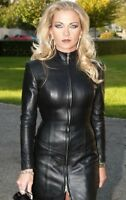 WOMEN REAL GENUINE LAMBSKIN LEATHER DRESS PLUS SIZE CUSTOM MADE FOR VALENTINES