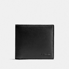 New Authentic Coach F75084 Men's Double Billfold Wallet Black Leather w Gift Box