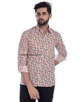 Lang Arm Hemd Pink Blumen Design Sommer Beachwear Indian Block Aufdruck Baumwoll