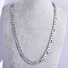 """mens womens 14k White Gold Filled long figaro chain 19"""" charm Necklace"""