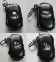 Leather Car logo Key Chain Case Remote Control package Auto Keyfob wallet bag