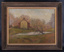 """Early 20th Century American Impressionist Oil Painting """"Autumn Scene"""" Signed"""