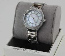 NEW AUTHENTIC MICHAEL KORS KERRY SILVER MOP CRYSTALS WOMEN'S MK3311 WATCH