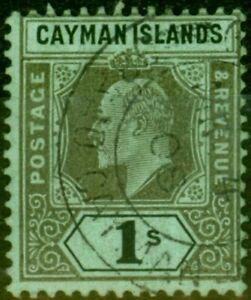 Cayman Islands 1907 1s Black-Green SG31a Damaged Frame & Crown V.F.U Scarce