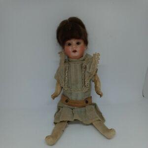 Antique German Recknagel Bisque Head Doll With Wig Cardboard Body TLC Lace Dress