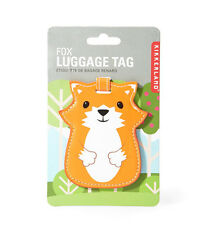 * LUGGAGE TAG Travel Bag ID Pouch Cover Case FOX ANIMAL Vegan Leather Baggage