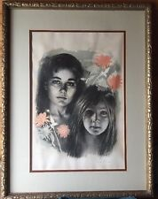Sandu Liberman Portrait of Two Girls w/Flowers Lithograph Numbered/Signed Framed