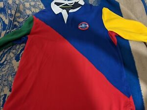 Vintage Style Tommy Hilfiger Sailing Gear Color Block Rugby Shirt Size L