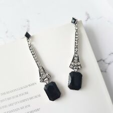 Stunning vintage white & black emerald cut crystal cocktail statement earrings