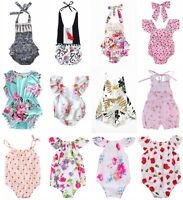 Floral Newborn Baby Girls Sleeveless Romper Bodysuit Jumpsuit One-Pieces Clothes